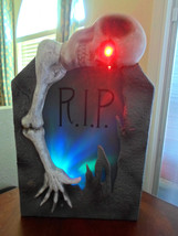 Halloween Color Changing Talking Skull on Tombstone - Lights/Sound - $38.27 CAD