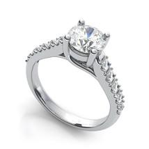 1.00CT Round Trellis Forever One Moissanite White Gold Ring With Diamonds - $943.12+