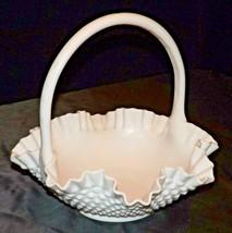 White Hobnail Basket with Handle Fenton AA20-CD0083 Vintage - $89.95
