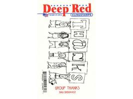 Deep Red Group Thanks Rubber Cling Stamp #3X504412