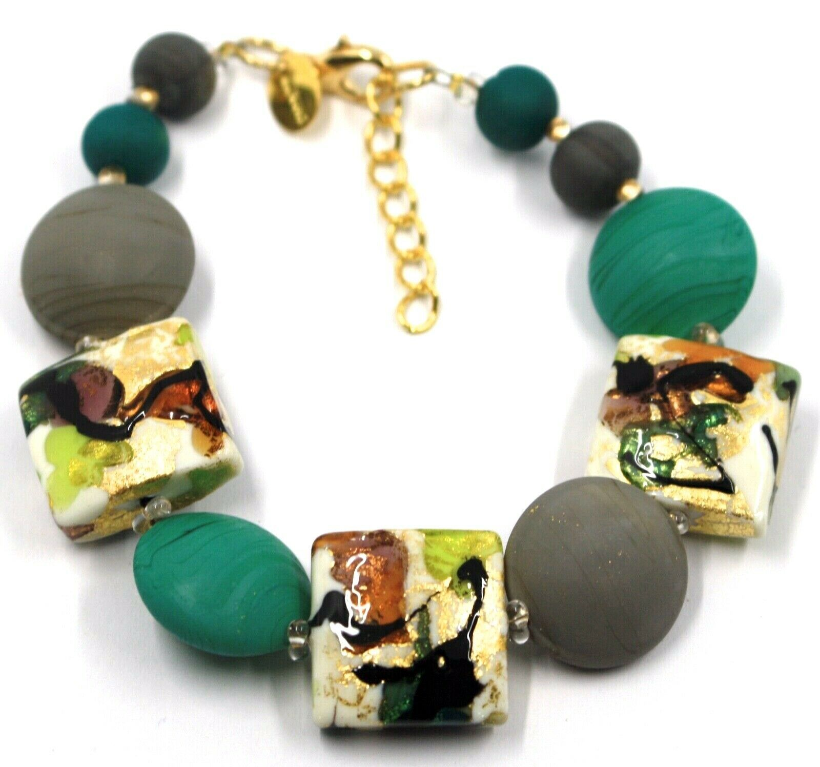 BRACELET GREEN GREY SQUARE & DISC, MURANO GLASS, GOLD LEAF, MADE IN ITALY