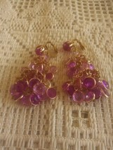 Vintage Signed Hong Kong Purple Pink Dangling Chandelier Clip On Earrings - $10.00