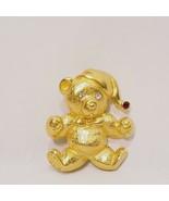 """Christmas Teddy Bear Gold Tone Pin Brooch Rhinestone 1"""" Santa Hat - $18.99"""