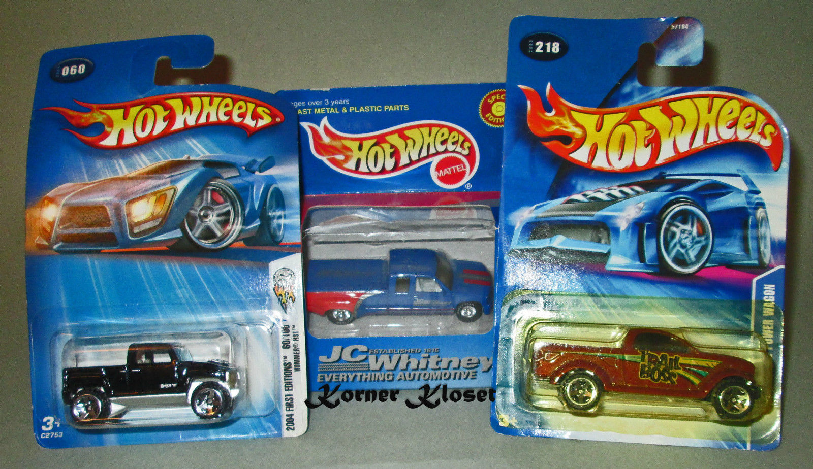 Primary image for Lot of 3 Mattel Hot Wheels JC Whitney Chev PU-Dodge Power Wagon-Hummer H3T - NIP