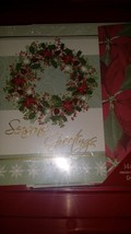 AMERICAN GREETINGS CARDS WREATH ON FRONT WITH POINSETTAS 14 CARDS AND EN... - $7.25