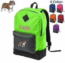 Personalized Kids Backpack Embroidered Bulldog Monogrammed with Custom Name - $24.99