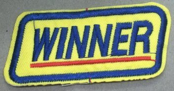 Winner Funny Embroidered Patch Size 3 x 1 1/2 Shipped from USA