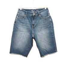 STYLE & CO womens bermuda denim jean shorts 12 blue high waisted rise ra... - $22.88