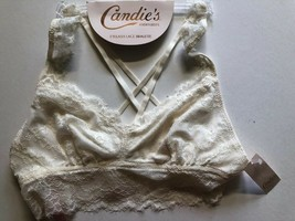 New! Candie's EYELASH Lace JUNIORS BRA XL OFF WHITE $24 PULLOVER RACER B... - $10.33
