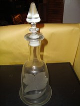 "Vintage Frosted Lily Decanter 14"" Tall Clear Glass With Stopper EX Condi... - $13.49"