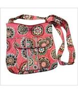 Vera Bradley Crossbody Handbag Pink Floral Circular Design Adjustable Strap - $16.74