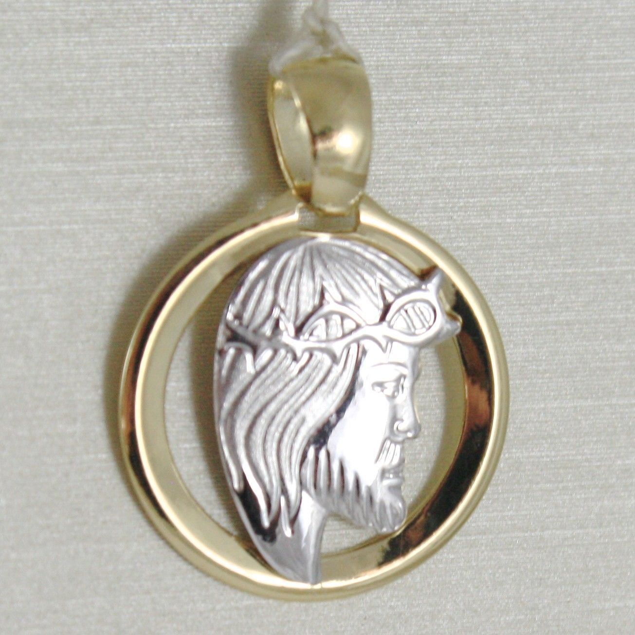 18K WHITE YELLOW GOLD PENDANT MEDAL, JESUS FACE, CROWN OF THORNS, MADE IN ITALY