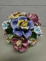 """AUTHENTIC ITALIAN MADE CAPODIMONTE  MULTI FLOWER BLOOMING BOUQUET - 9""""H ... - $306.79"""