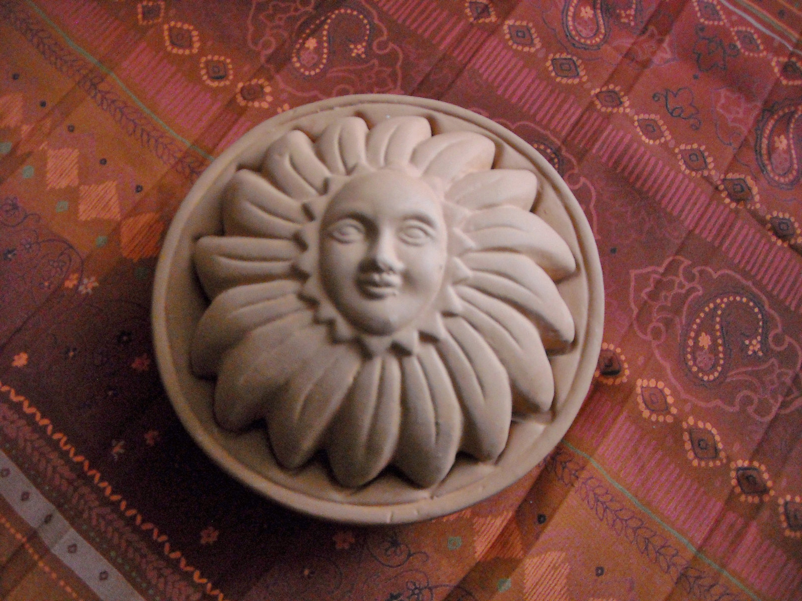 Vintage Terra Cotta Clay Sunflower Sunshine Face Wall Hanging Two Pieces Signed