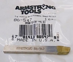 "Armstrong 86-547 Ground-To-Form Tool Bit 1/4"" Square USA - $6.44"