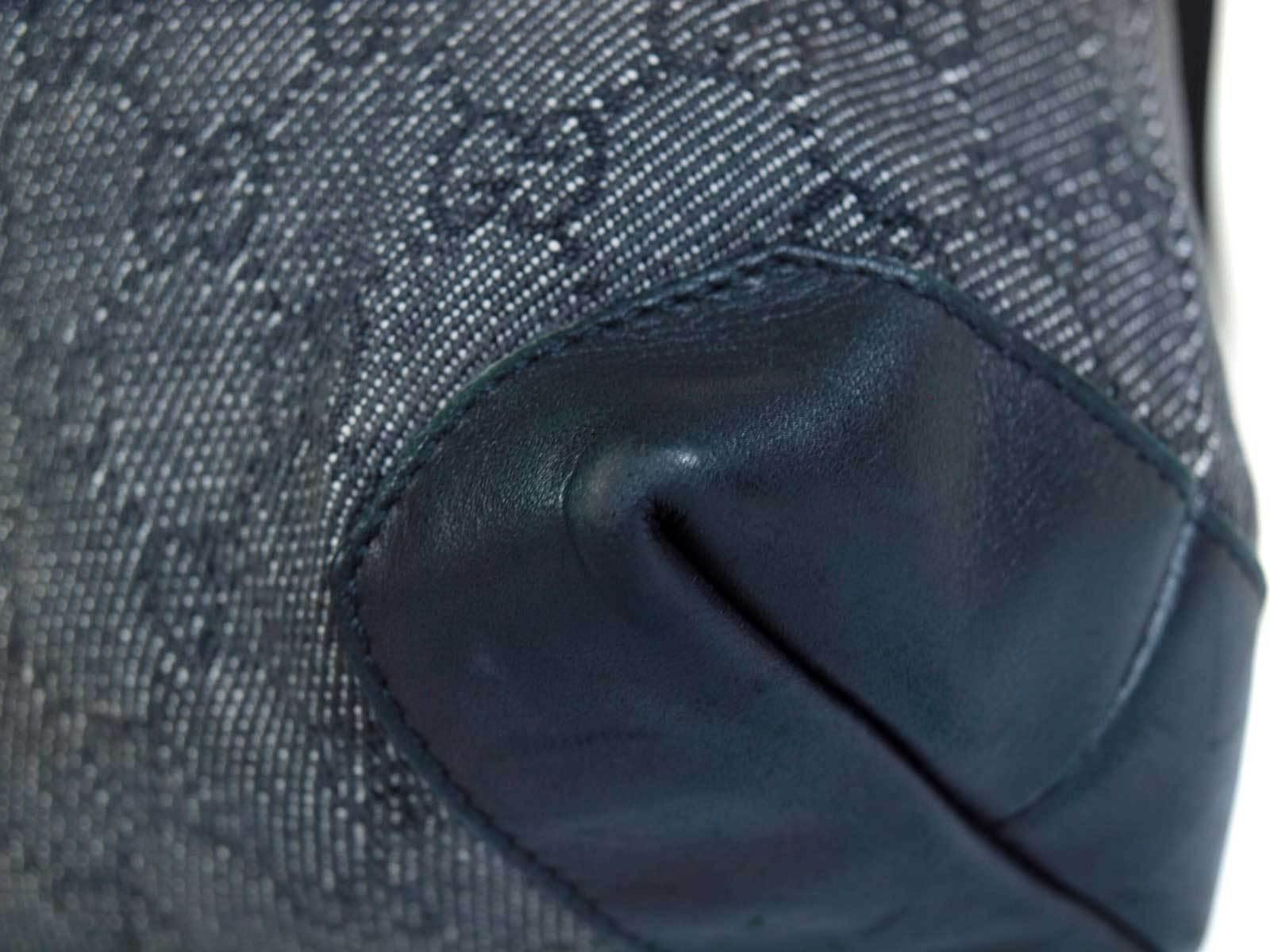 Authentic GUCCI GG Pattern Canvas, Leather Black Shoulder Bag GS16342L