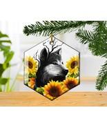 Wolf and Sunflowers Glass Hexagon Custom Christmas Tree Ornament - $15.00