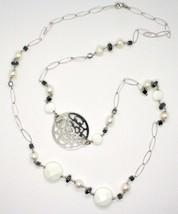 Lange Halskette 1 MT aus Silber 925 mit Hämatit Achat und Perlen Made in Italien image 2