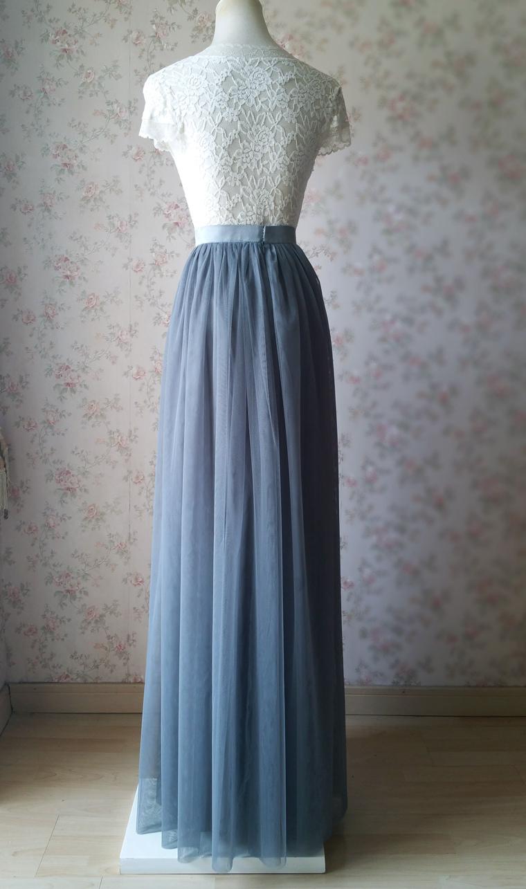 Dark gray wedding maxi tulle skirt 3