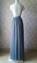 DARK GRAY Wedding Bridesmaid Tulle Skirt High Waist Gray Full Maxi Tulle Skirt image 4
