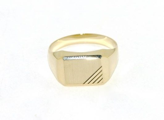 18K YELLOW GOLD BAND MAN RING RECTANGULAR ENGRAVABLE SATIN SMOOTH MADE IN ITALY