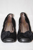 RESTRICTED Black Leather Ballet Flats W/Rose Toe Decor Womens Size 10-B99 - $40.00