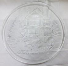 Vintage Weihnachten Platte Transparentes Glas Wohndeko Haus Baum Schnee - $12.86