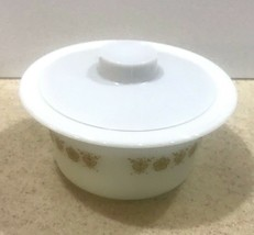 Vintage Pyrex/Corning Ware Butter Tub/Bowl & Cover Butterfly Gold #75 image 2