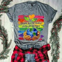 Imagine All The World Living Life In Peace Men T-Shirt Sport Grey Cotton... - £12.36 GBP+