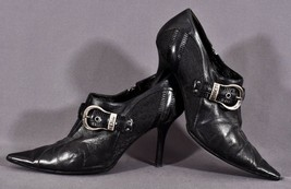Christian Dior Leather Strap Silver Buckle Logo Booties Heels Zip Shoes US 6.5 - $56.99
