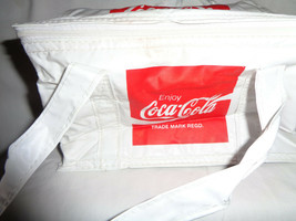 White Coca Cola Plastic Cooler Bag with Strap Handle Lunch Insulated Tote - $21.84