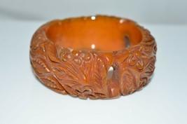 VTG Wide BAKELITE Tested Deep Carved Flower Orange Brown Marbled Bangle ... - $594.00