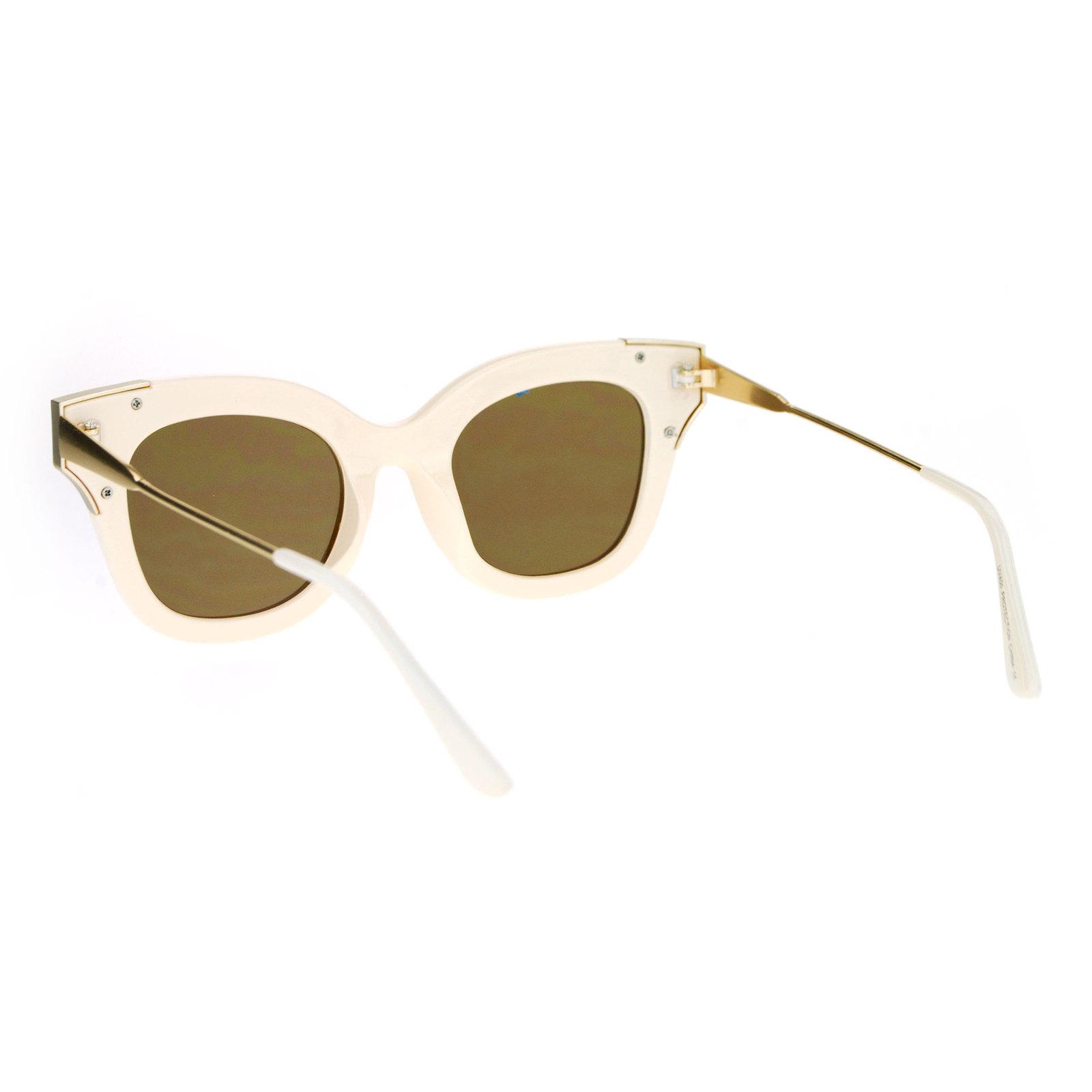 SA106 Color Mirrored Horned Rim Flat Lens Cat Eye Womens Retro Sunglasses