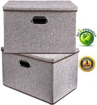Large Linen Fabric Foldable Storage Container [2-Pack] w/ Removable Lid,... - $37.09 CAD
