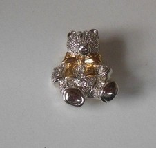 Vintage Signed Roman Two-tone Rhinestone Teddy Bear Brooch - $14.11