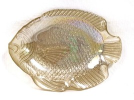 Vintage Cream Gold Opalescent Iridescent Glass Fish Candy Trinket Dish 6... - $9.79