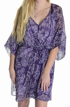 Sz 8 Diane Von Furstenberg Iniko Purple & White Floral Print 100% Silk Dress - $126.72