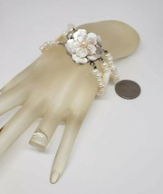 Womens Unique Vintage 1960s Flower Mother Of Pearl With Culivated Pearls... - $29.69