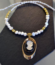 Statement necklace, Cameo Necklace, Gold, Pearl, Victorian, Edwardian, 488 - $19.99