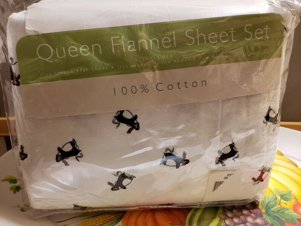 Primary image for NEW NIP Queen Flannel Sheet Set Penguins Winter Holiday from Sears FS