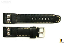 24mm Black Smooth Leather RIVET Watch Band Strap Fits Luminox Anti-Allergic - $37.75