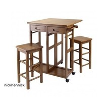 Kitchen Breakfast Nook Dining Table Stools Folding Kitchen Wood Island F... - $161.70