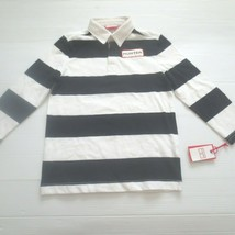 Hunter For Target Boys White Black Striped Polo Long Sleeve Shirt - 4/5 - NWT - $10.99