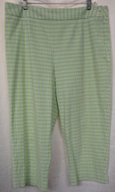 TALBOTS WOMAN Seersucker Capri Pants Lime & White Plaid Cotton Stretch S... - $14.69