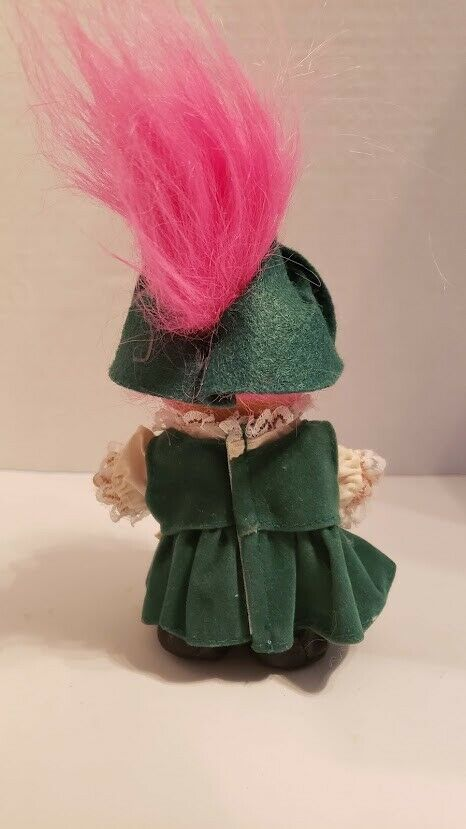 """Vintage 5"""" Irish Troll Doll with Pink Hair VGC St Patrick's Day"""