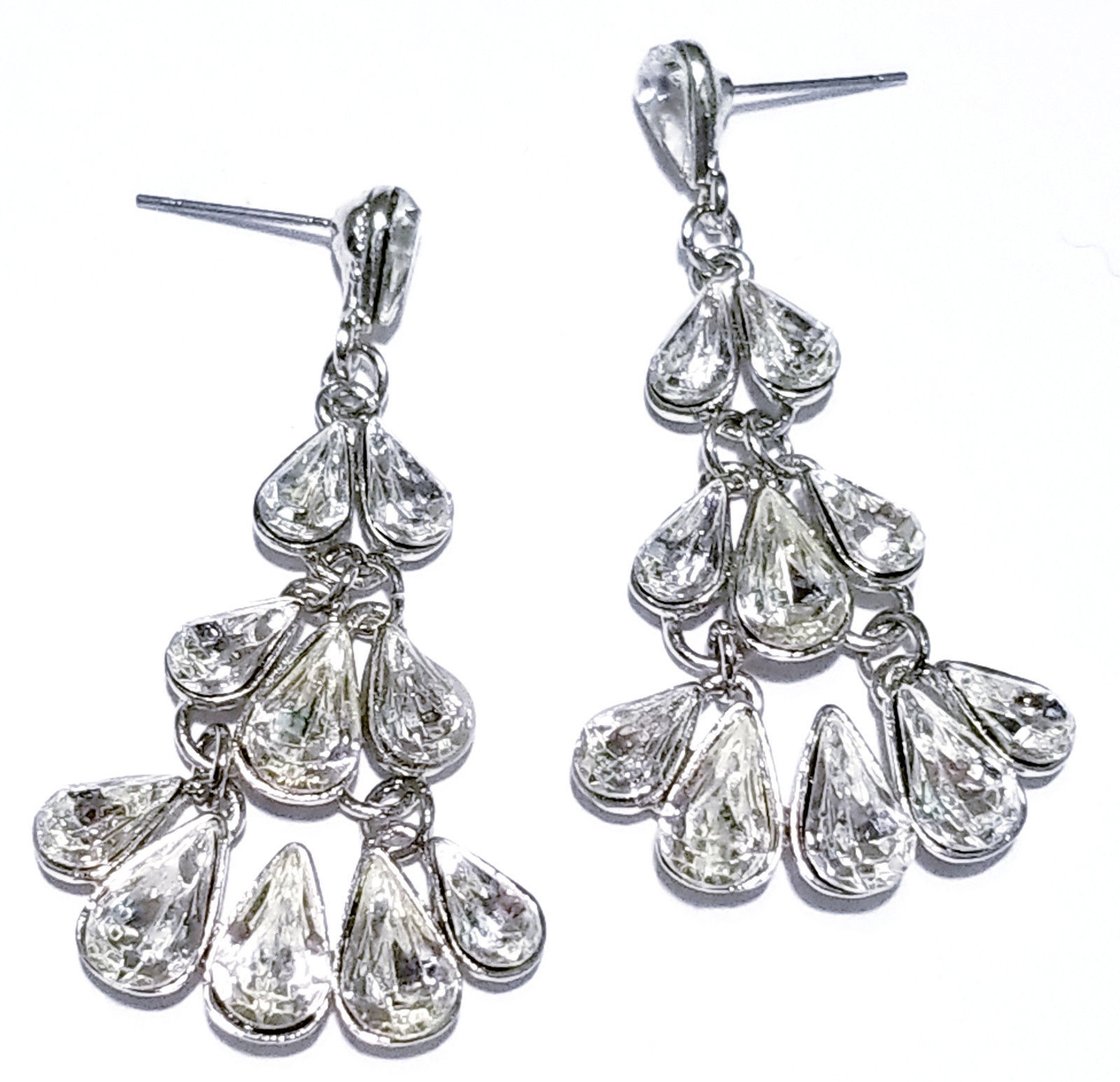 Primary image for Chandelier Dangle Post Earrings Rhinestone Prom Pageant Clear Austrian Crystal
