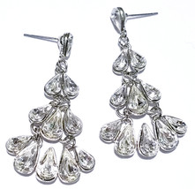 Chandelier Dangle Post Earrings Rhinestone Prom Pageant Clear Austrian C... - $18.69