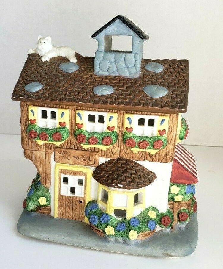 Flower Shop Tealight Candle Holder Cat Porcelain Olde World Partylite P0144 Vtg