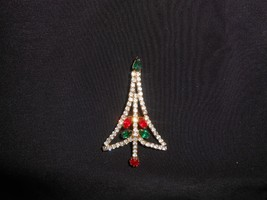 Christmas Tree Brooch Rhinestones Vintage Holiday Jewelry - $14.25