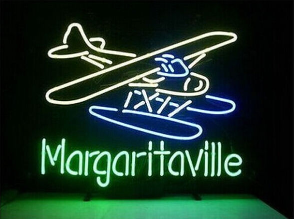 "New Jimmy Buffett Margaritaville Paradise Plane Neon Sign 24""x20"""